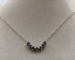 Natural Blue Diamond  0.91 Cts  ~ Sterling Silver Necklace