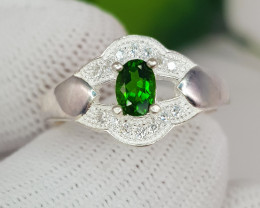 Natural Chrome Diopside 14.50 Carats 925 Silver Ring