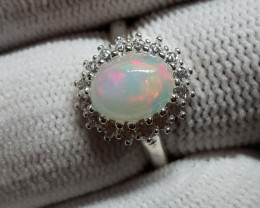 Natural Multi Fire Opal 16.50 Carats 925 Silver Ring