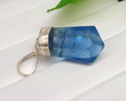 Natural Blue Flourite 32.70 Carats Silver Pendant