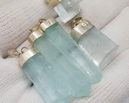 Natural Blue Aquamarine Crystals Silver Pendants