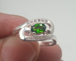Natural Chrome Diopside Ring   12.05 Carats Ring   925 Silver Ring   Natura