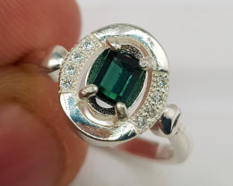 Natural Indicolite Tourmaline 13.10 Carats 925 Silver Ring