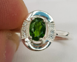 Natural Chrome Diopside 11.90 Carats 925 Silver Ring