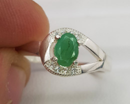Natural Green Emerald 13.15 Carats 925 Silver Ring