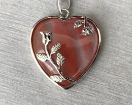 Genuine Cherry Quartz Pendant **Handcraft Heart Shaped Turkey Design**