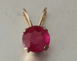 RUBY PENDANT SET IN 10 KT YELLOW GOLD - 5 MM ROUND PENDANT
