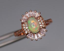 Elegant Natural Fire Opal, CZ & 925 Fancy Rose Gold Sterling Silver Ring