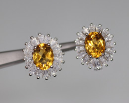 Attractive Natural Citrine, CZ & 925 Fancy Sterling Silver Earring