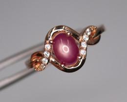 Fabulous Ruby, CZ & 925 Fancy Rose Gold Sterling Silver Ring