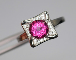 Fabulous Natural Pink Topaz, CZ & 925 Fancy Sterling Silver Ring