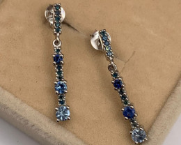 Stylish Natural Blue Diamond And Blue Sapphire Silver Earring