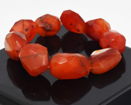 Genuine 446.00 Cts Carnelian Faceted Stretchable Bracelet