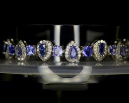 ~NR~Excellent Tanzanite  Silver 925 Bracelet
