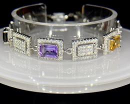 ~NR~Excellent Mix Stones Silver 925 Bracelet