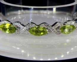 ~NR~Excellent Paridot Silver 925 Bracelet