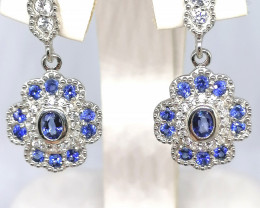 Ceylon Sapphire and Zircon Earrings 1.93tcw.