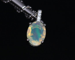 Attractive Natural Fire Opal, CZ & 925 Fancy Sterling Silver Pendant