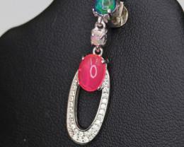 Elegant Natural Multi Fire Opal, CZ & 925 Fancy Sterling Silver Pendant