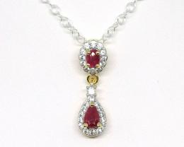Burmese Ruby and Zircon Necklace 0.70tcw.