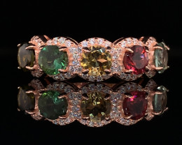 Top class jewelry Natural mix color Tourmaline ring with White CZ in  Rose