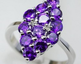 LOVELY AMETHYST IN STERLING SILVER RING