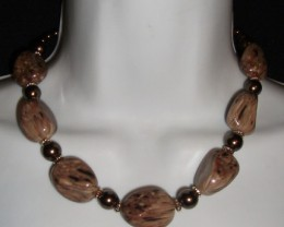 LOVELY CHUNKY BEAD  NECKLACE AND EARRING  SET