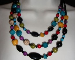 LOVELY MULTI  COLOR BEADED NECKLACE & EARRINGS