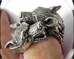 Rampant Wolf Ring, Free Size, Free Size, Tribal Metalwork