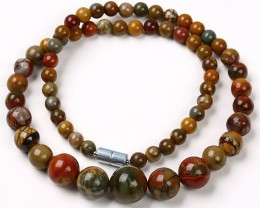 LOVELY PICASSO JASPER  GRADUATED BEAD NECKLACE 18 CTW