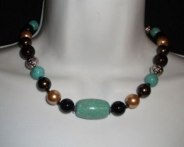 LOVELY MULTI COLORED BEAD NECKLACE & EARRING SET