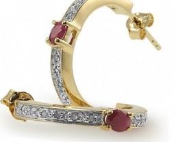 $1No Reserve 1.89 CT Ruby Diamond 18K Designer Earrings $375