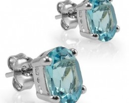 No Reserve! Amazing 5 CT Blue Topaz Earrings