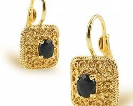1.34 CT Sapphire Leverback Designer Earrings $315