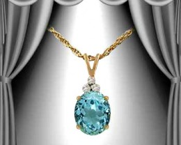 $1 No Reserve 3.25 CT Topaz & Diamond  Fine Necklace $485.00