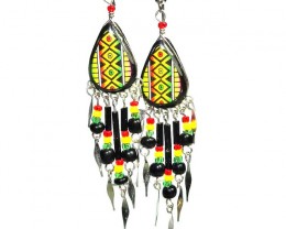 HANDMADE PERUVIAN EARRINGS   INCA DESING 26.50 CTS   [PLT31]