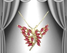 $1No Reserve 3.89 CT Ruby Diamond Butterfly 18K Pendant $465