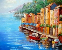 Real fin art oil painting on canvas, Red Sailboat