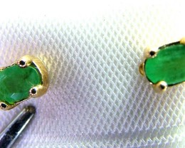 EMERALD EARRINGS 10 SOLID GOLD 1 CTS  AS-A3224