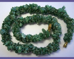 333CT BEAUTIFUL GREEN NATURAL AVENTURINE CHIP BEAD NECKLET