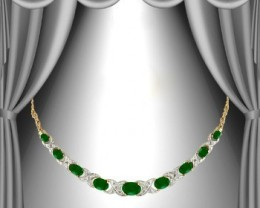 Designer Jewelry 12.79 CT Emerald & Diamond Necklace $1435
