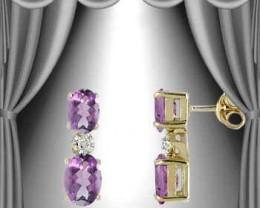 $1 No Reserve! Genuine 3 CT Amethyst & Diamond Earrings