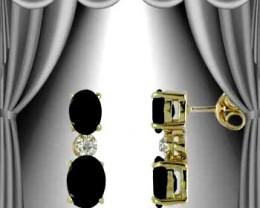 $1 No Reserve 3 CT Sapphire & Diamond 18K Earrings $425