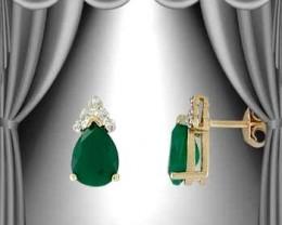 Genuine 3 CT Agates Diamond Teardrop Earrings Emerald color
