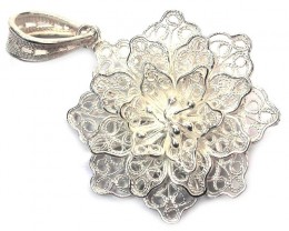 UNIQUE FILIGREE SILVER PENDANT 19.90 CTS [SJ1279]