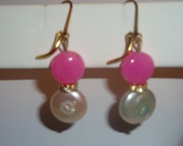 PEARL COINS, GP CRYSTAL ACCENTS AND PINK RUBY COIN EARRINGS