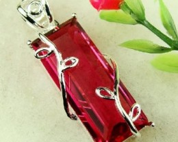 AWESOME RED KUNZITE & STERLING SILVER PENDANT