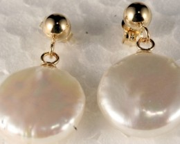 14K Gold Earring set with genuine Pearl SE-112