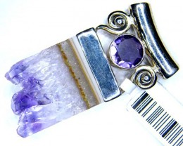 AMETHYST SLICE-FACETED SILVER PENDANT 61 CTS LJ-55