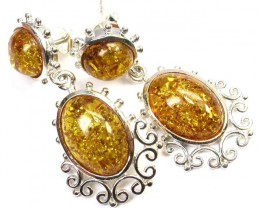 BALTIC AMBER EARRINGS SILVER 31.50 CTS [SJ1403]